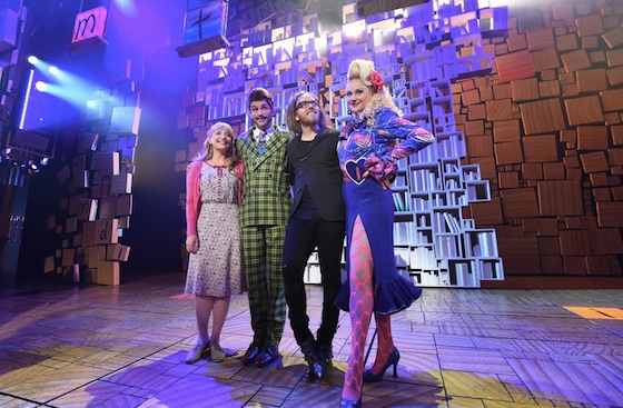 Elise McCann (Miss Honey), Daniel Frederiksen (Mr Wormwood), Tim (Tim), Marika Aubrey (Mrs Wormwood) Photo by James Morgan