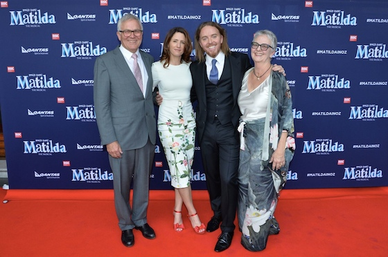 Tim with mother Ros Minchin, wife Sarah and father David