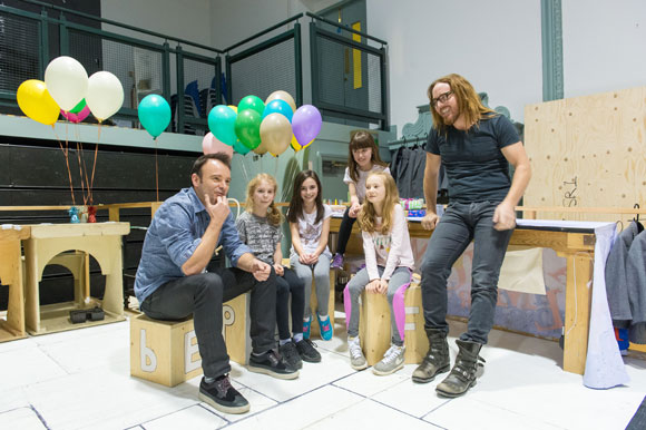 L-R: Matthew Warchus, Matilda Shapland, Lara McDonnell, Anna-Louise Knight, Violet Tucker, Tim. Photo by Manuel Harlan